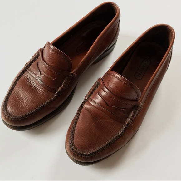 Coach Men's 9N Penny Loafer Slip On Brown Leather Casual Shoes Made in Brazil